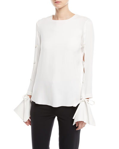 Split-Sleeve Stretch Silk Blouse with Detached Cuffs