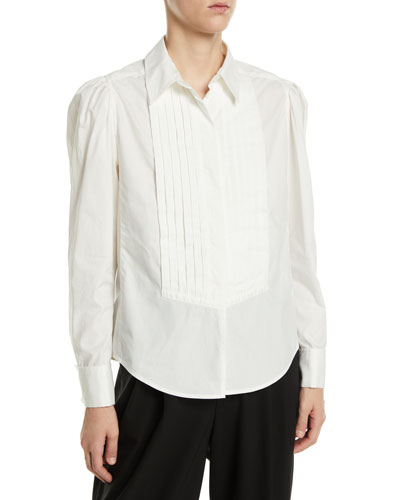 Long-Sleeve Button-Front Cotton Shirt w/ Topstitching