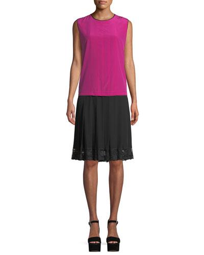 Jewel-Neck Sleeveless Pleated Mixed-Media Silk Dress w/ Lace Hem