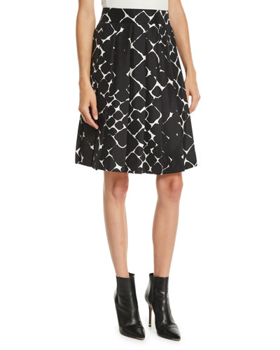 Abstract-Print Pleated Knee-Length Skirt