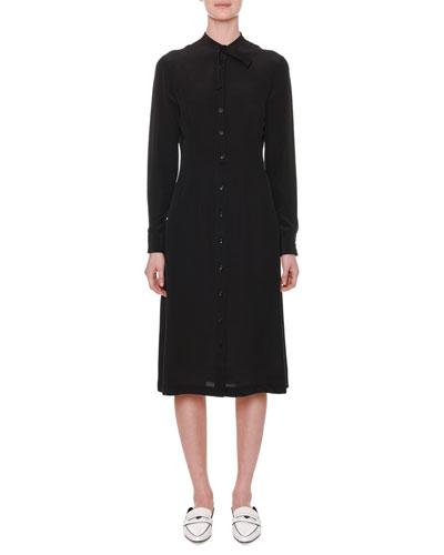 Long-Sleeve Button-Front Silk Midi Shirtdress