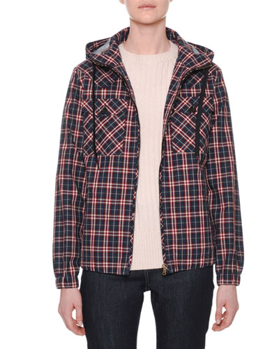 Hooded Zip-Front Check Bomber Jacket