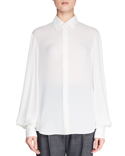 Casta Button-Front Blouson-Sleeve Silk Blouse