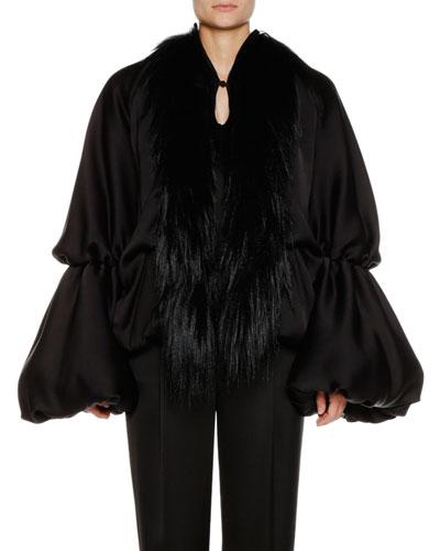Blouson-Sleeve Silk Satin Jacket w/ Goat Fur Collar