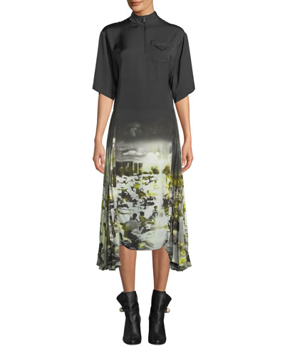 Short-Sleeve Pleated-Side Beach-Print Twill A-Line Midi Dress