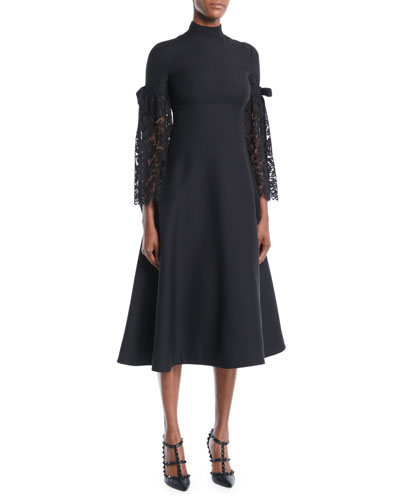Red Valentino Dress Heavy Lace Sleeve Empire Waist Crepe Couture A Line Mid Calf Tail