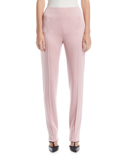 High-Waist Side-Zip Slim Straight-Leg Cady Pants