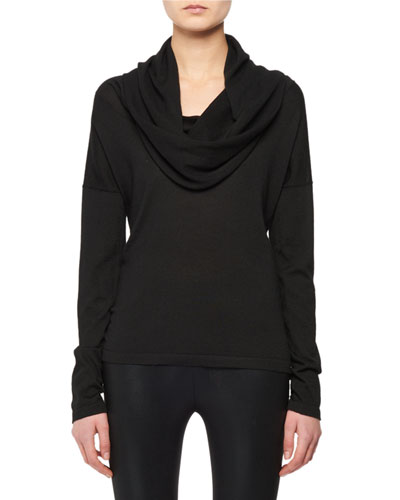 Hooded Cowl-Neck Cashmere-Silk Knit Sweater