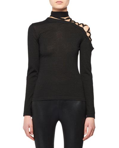 Eyelet-Shoulder Long-Sleeve Cashmere-Silk Knit Top