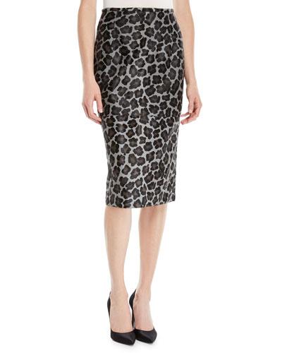 Leopard-Print Calfhair Midi Pencil Skirt