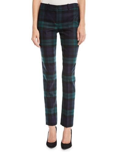 Samantha Straight-Leg Wool Plaid Pants