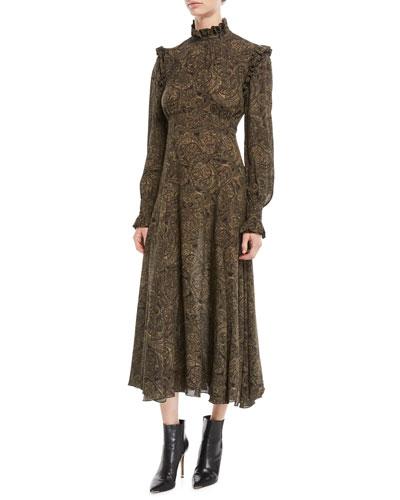 Mock-Neck Long-Sleeve Paisley Silk Georgette Dress