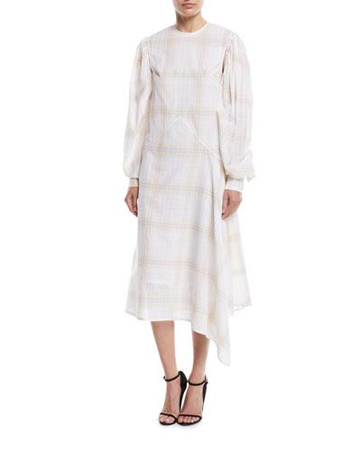 Detachable-Sleeves Macro Check Cotton A-Line Midi Dress