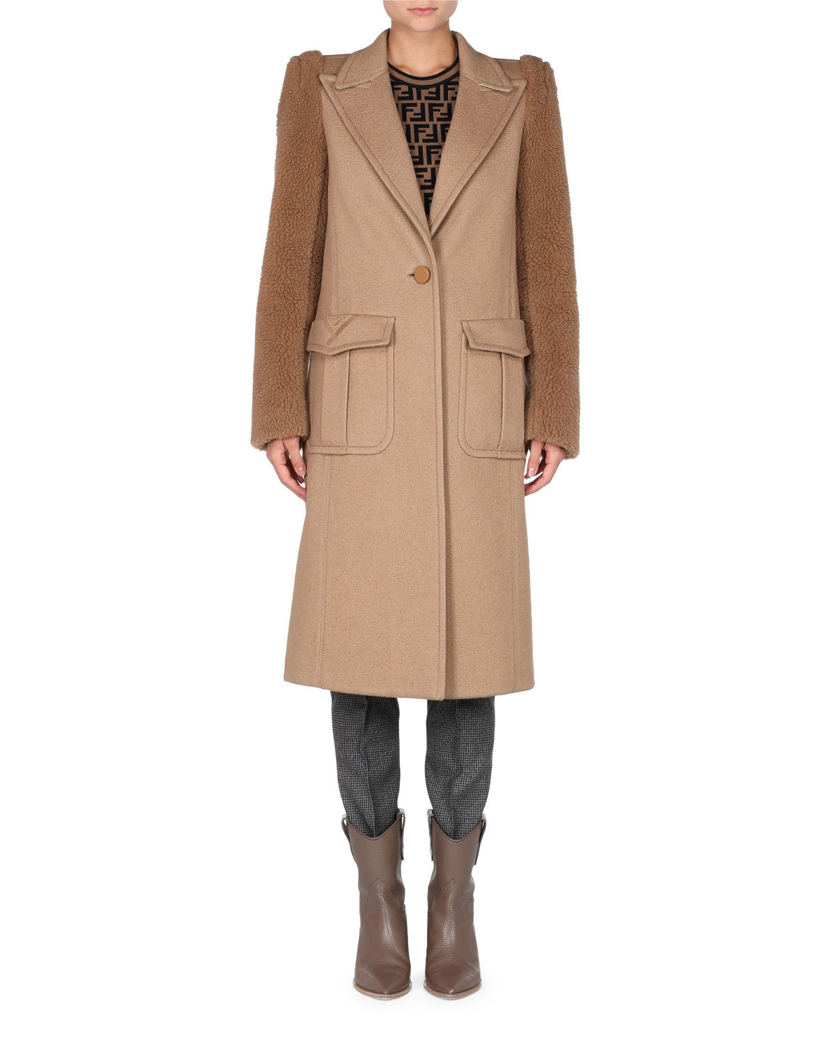 TEDDY-SLEEVE ONE-BUTTON CAMEL WOOL MEN'S-STYLE COAT