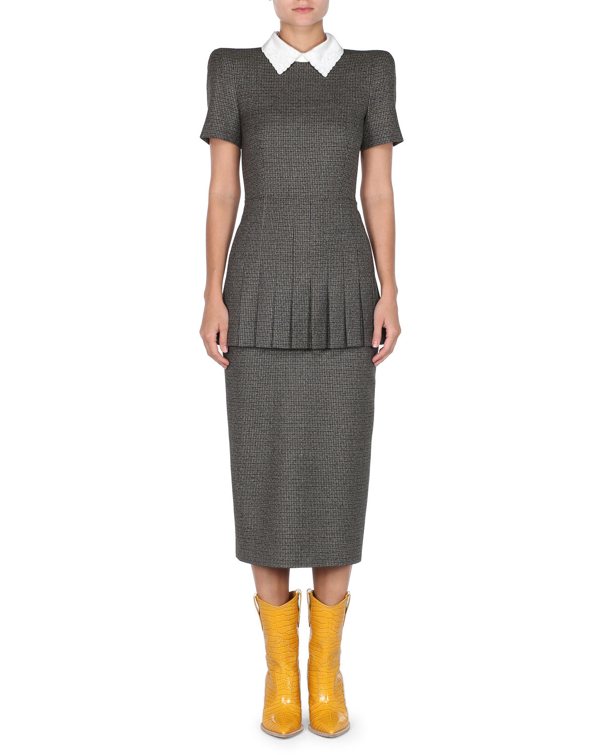 FENDI SHORT-SLEEVE CHECK PLEATED PEPLUM MIDI SHEATH DRESS W/ REMOVABLE COLLAR