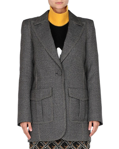 9915114c3e0e Peak-Lapel One-Button Check Oversized Jacket Quick Look. Fendi