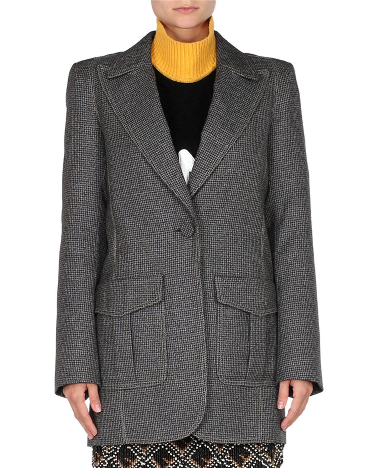 FENDI PEAK-LAPEL ONE-BUTTON CHECK OVERSIZED JACKET