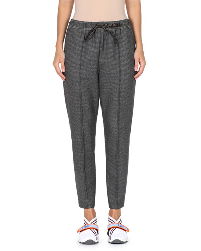 9ef7ede217d Drawstring-Waist Check Pleated Fleece-Wool Pull-On Pants