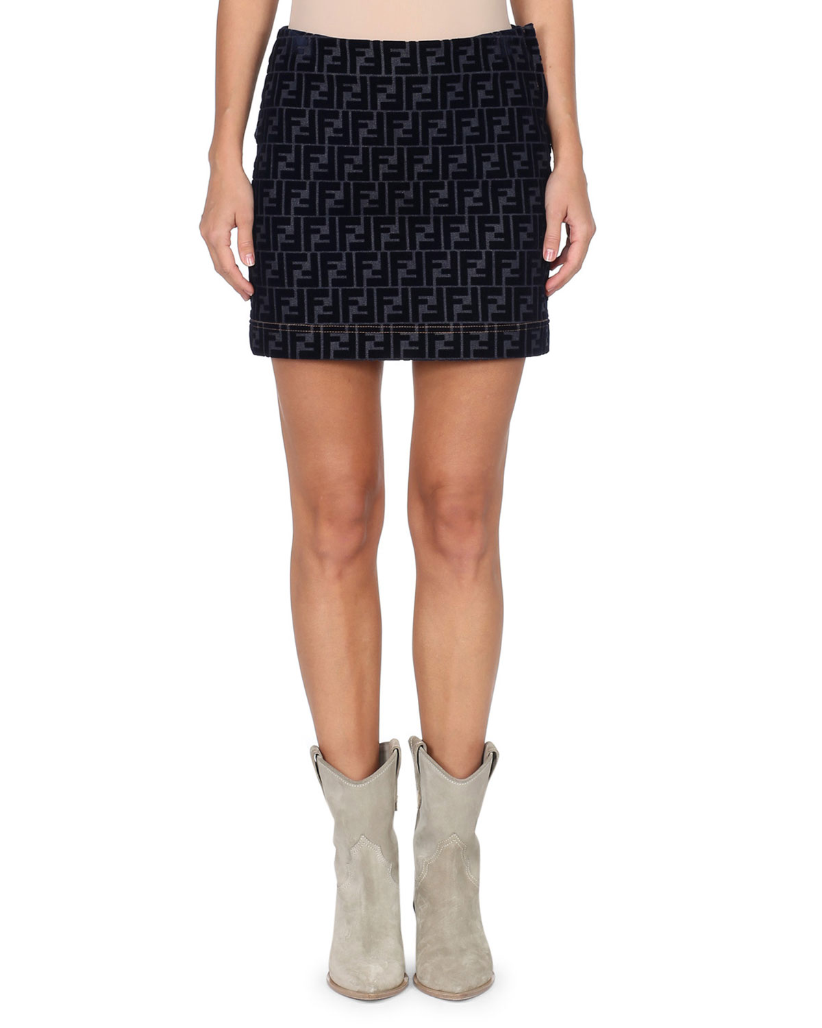 FENDI FLOCKED VELVET FF LOGO DENIM MINI SKIRT