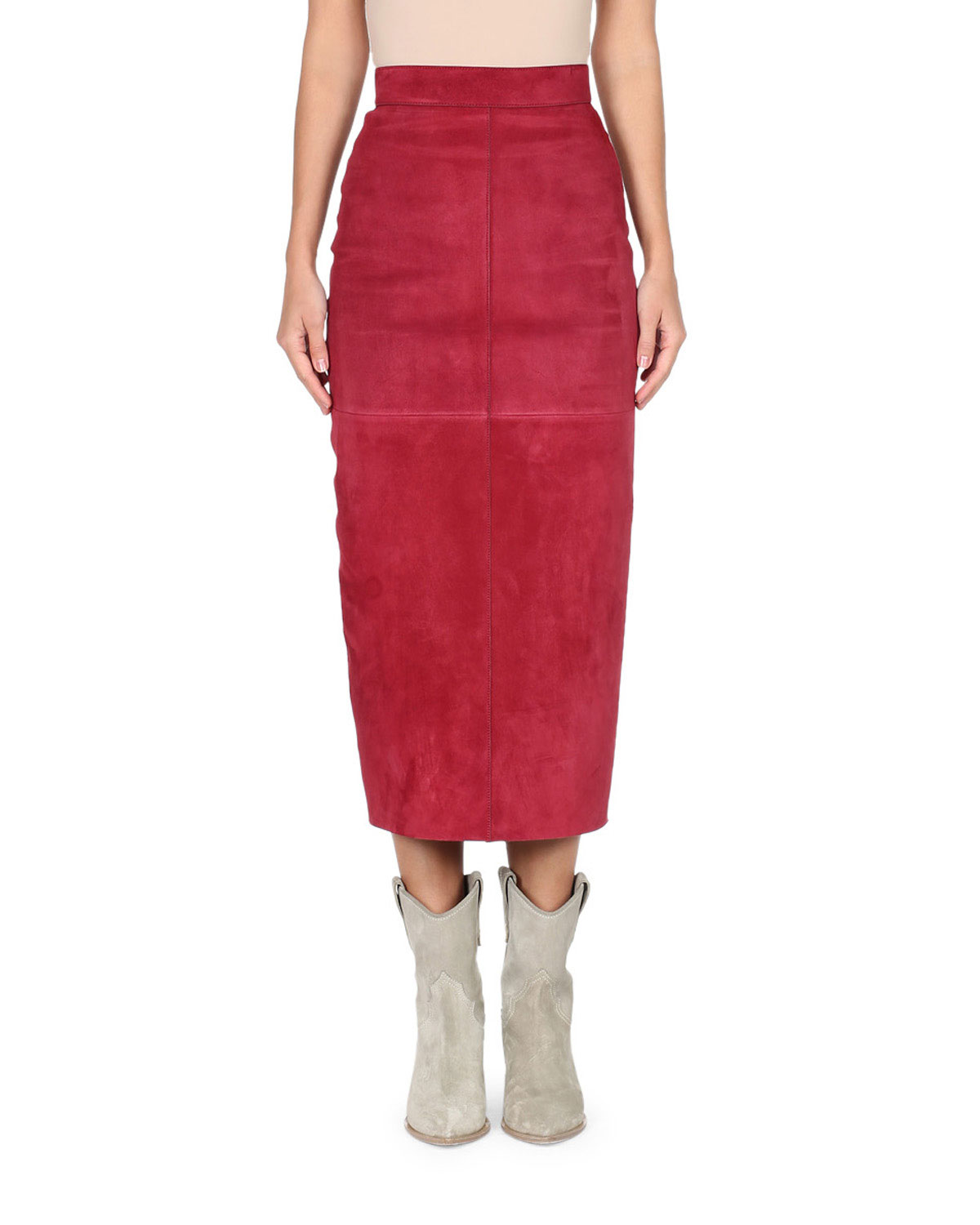 FENDI HIGH-WAIST SUEDE PENCIL SKIRT