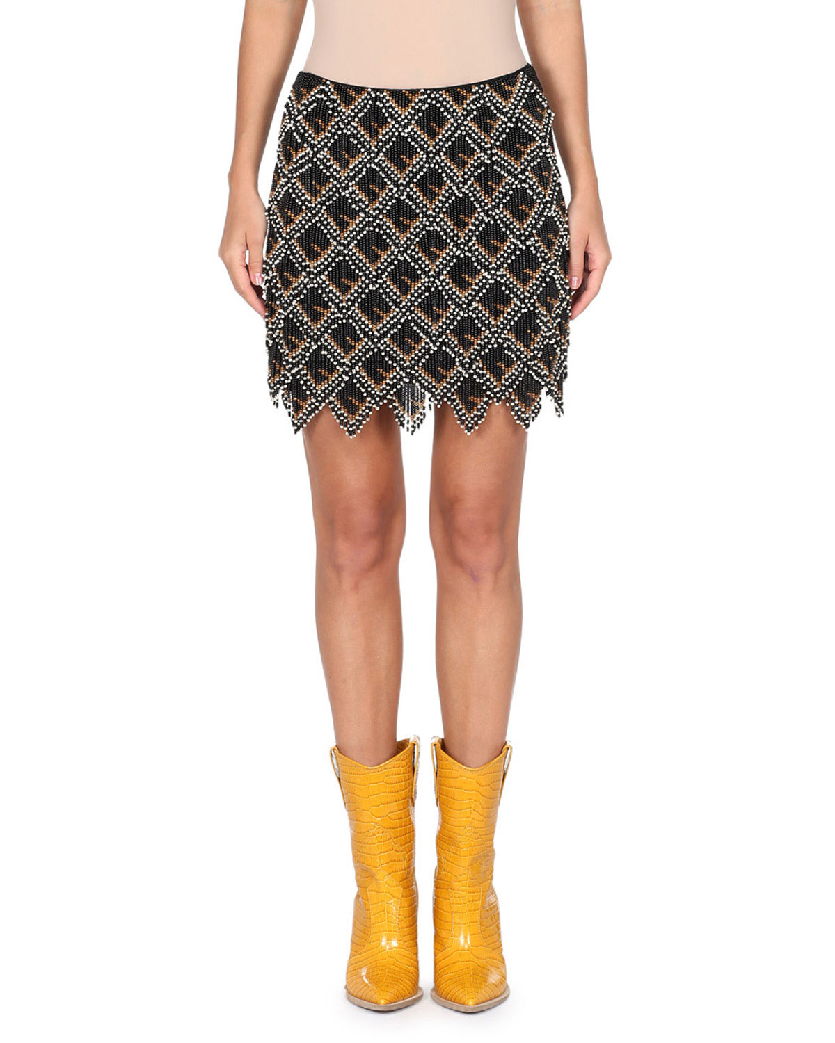 FENDI BEADED MINI SKIRT W/ LEATHER LOGO BACK