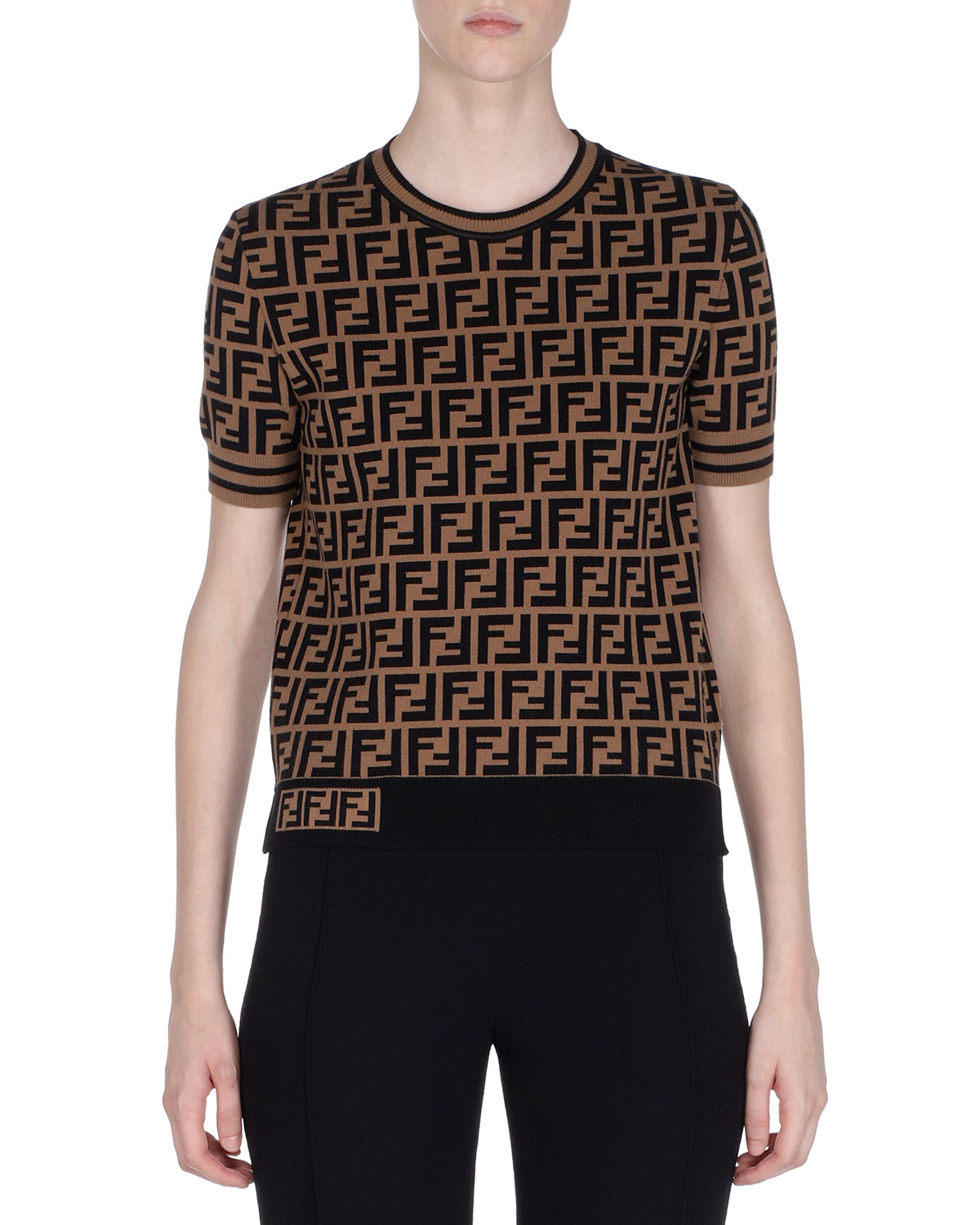 FENDI CREWNECK SHORT-SLEEVE FF LOGO T-SHIRT