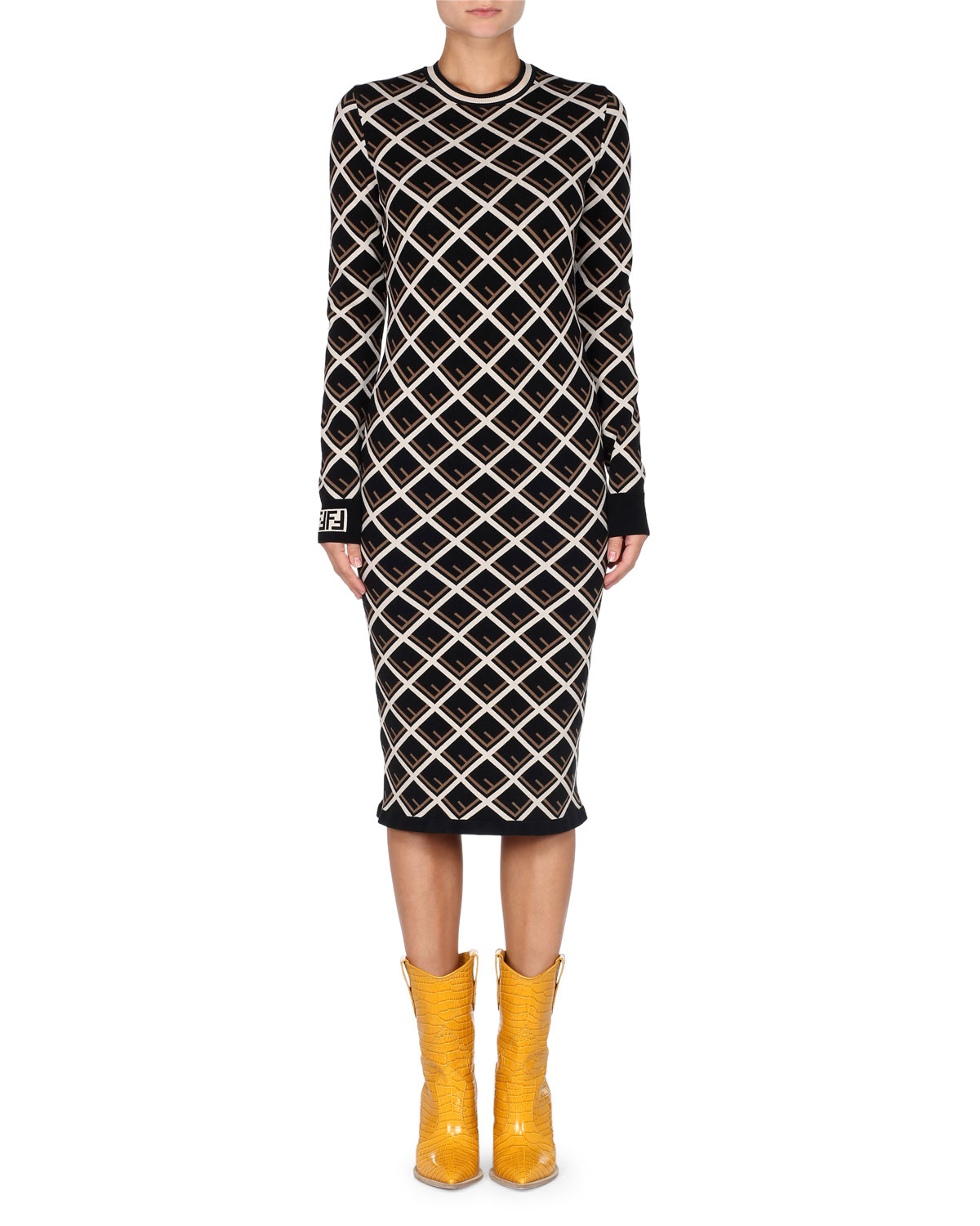 FENDI LONG-SLEEVE LOGO-KNIT MIDI DRESS