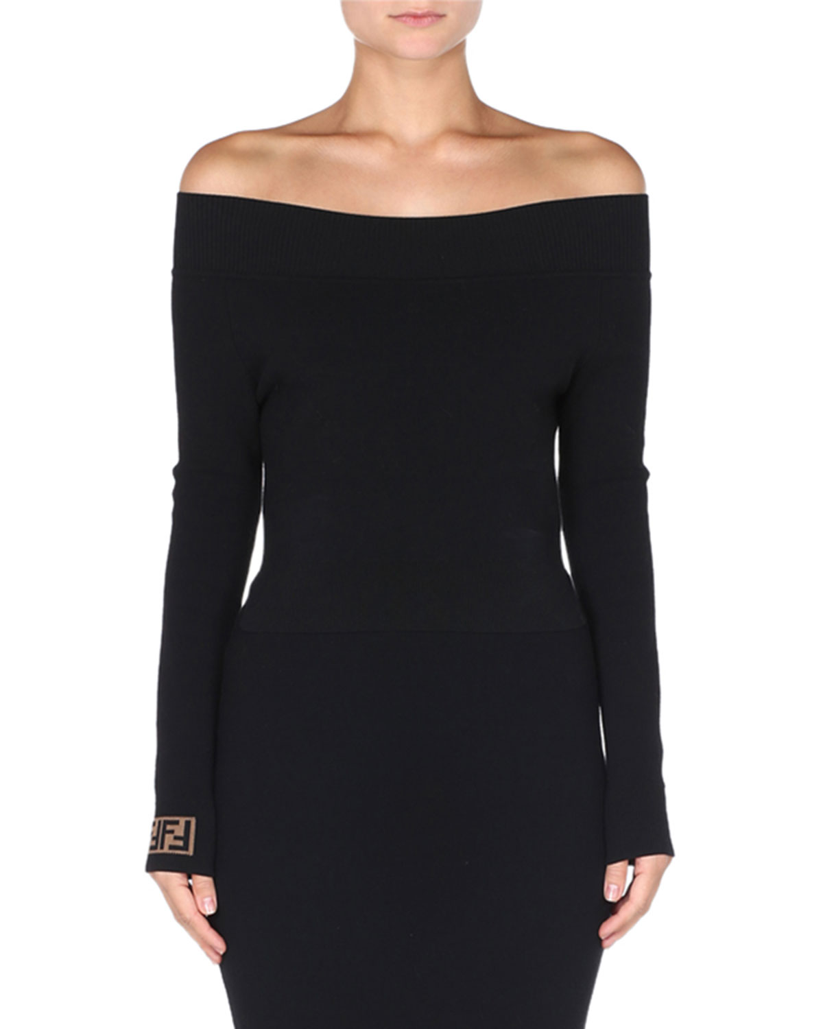 FENDI OFF-THE-SHOULDER LONG-SLEEVE KNIT PULLOVER TOP W/ LOGO CUFFS