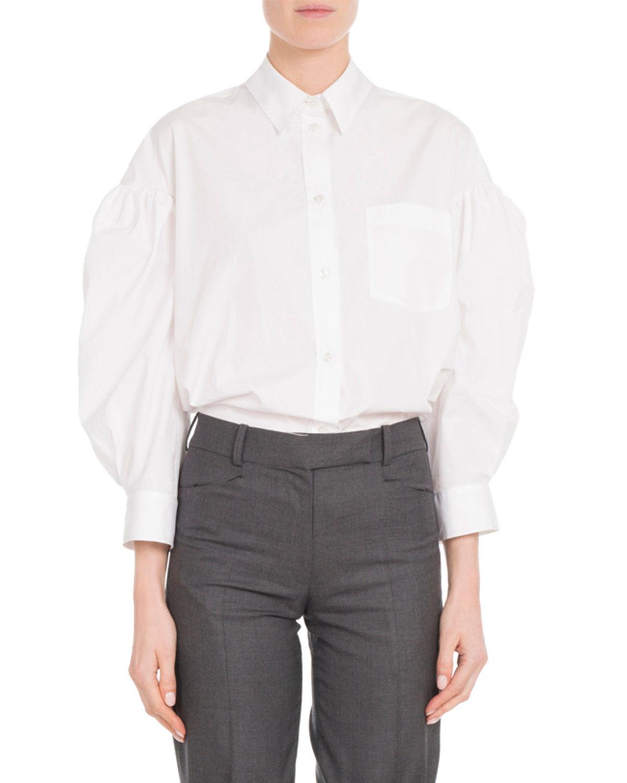 Simone Rocha T-shirts BALLOON BRACELET-SLEEVE BUTTON-FRONT POPLIN SHIRT