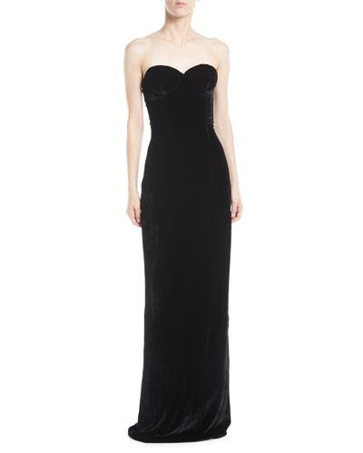 Sweetheart-Neck Velvet Column Evening Gown
