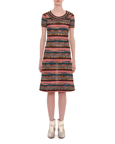 Crewneck Short-Sleeve Multicolor Striped Knit Dress