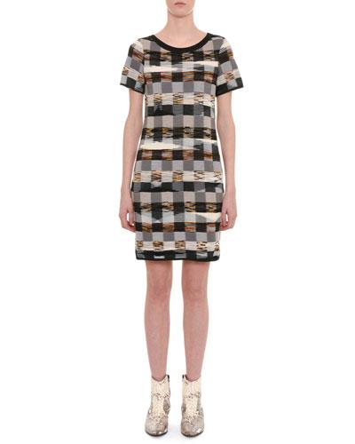 Crewneck Short-Sleeve Space-Dye Check Wool Short Dress