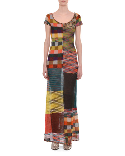 Scoop-Neck Cap-Sleeve A-Line Patchwork Dress