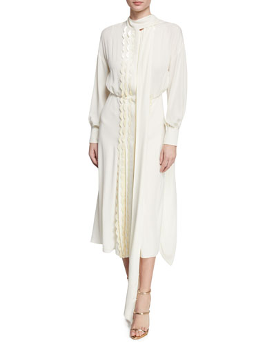 820692195599 Long-Sleeve Velvet-Scalloped Silk Midi Dress Quick Look. Valentino