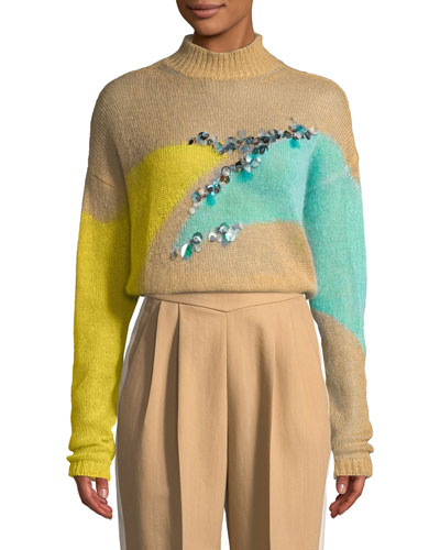 Intarsia Mohair Turtleneck Sweater w/ Hand Embroidery