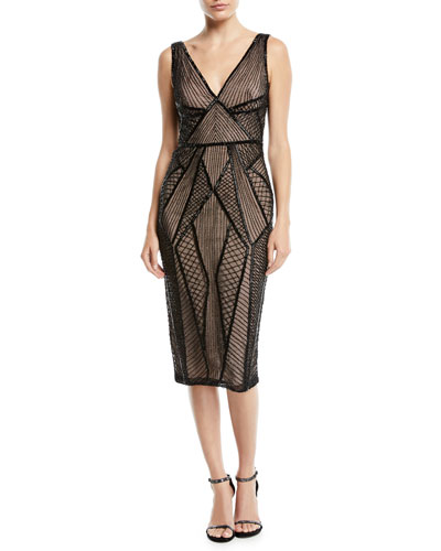 Sleeveless V-Neck Beaded Cocktail Dress
