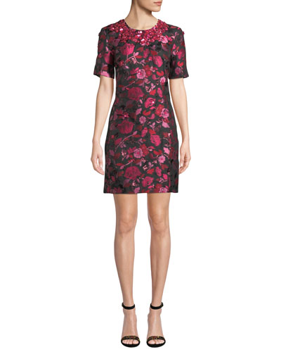 1/2-Sleeve Floral-Embroidered Jeweled-Neck Dress