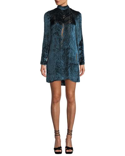 Long-Sleeve High-Neck Velvet Burnout Cocktail Dress