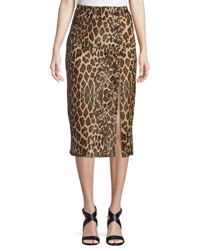High-Waist Leopard-Print Calf Hair Pencil Skirt with 6-Button Side Slit