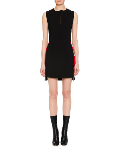 Sleeveless Side-Stripe Fitted Mini Wool-Blend Dress