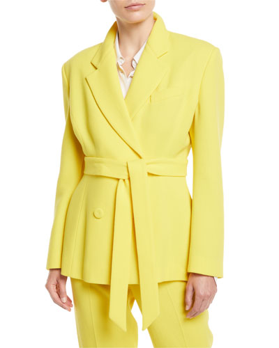 Notched-Collar Double-Breasted Oversized Wool Blazer