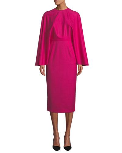 Cape Crewneck Wool Sheath Midi Dress