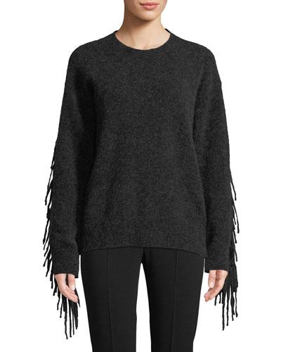 Crewneck Mohair-Wool Pullover Sweater w/ Fringe Trim