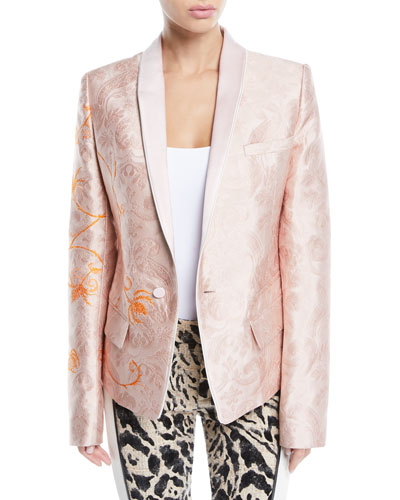 Ora Shawl-Collar One-Button Floral-Jacquard Jacket