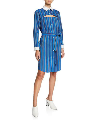 Overlay Button-Down Striped Seersucker Dress