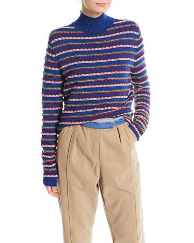 Ottoman Striped Mockneck Sweater