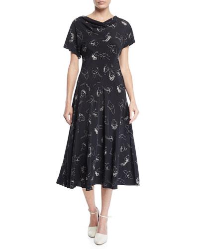 Drape-Neck Cap-Sleeve Face-Print Bias-cut Silk Dress