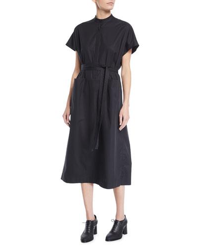 Cap-Sleeve Half-Placket Belted Light-Twill Midi Dress