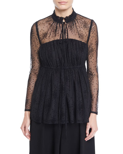 Ruched-Neck Long-Sleeve Floral-Embroidered Mesh Blouse