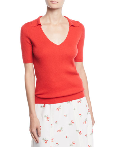 V-Neck Short-Sleeve Ribbed Cashmere Polo Top